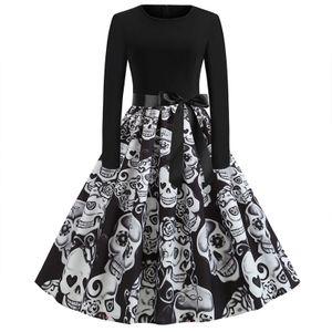 Damen Langarm Slim Kleid Halloween Print Rundhalskleid,Farbe: Weiß,Größe:S