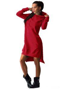 Damen Fleece Kapuze Taschenkleid Pullover Langer Rock,Farbe: Rot,Größe:XXL