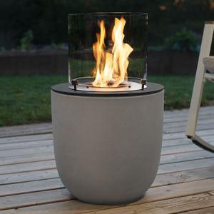 muenkel design Vagos [Ethanol Feuerstelle für den Innen- und Außenbereich]: Beton, grau