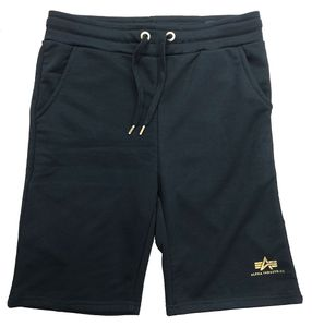 Alpha Industries Herren Basic SL Foil Print Sweat Shorts, Schwarz L