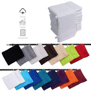 Müskaan - 10er Set Frottee Waschhandschuhe Elegance 16x21 cm 100% Baumwolle 500 g/m² Waschhandschuh, Farbe:weiß