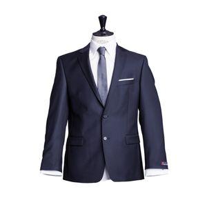 Größe 122 atelier torino Business Sakko Prestige mit Seitenschlitzen Dunkelblau Uni Normale Passform Classic Fit 100% Schurwolle, 330g