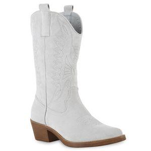 VAN HILL Damen Stiefel Cowboystiefel Stickerei Cowboy Boots Western Schuhe 832725, Farbe: Hellgrau, Größe: 39