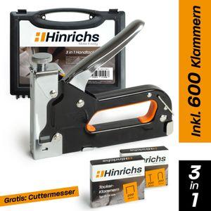 Hinrichs Handtacker im Koffer - Handtacker Holz mit Klammern Nägeln - Gratis Cuttermesser
