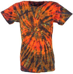 Batik T-Shirt, Herren Kurzarm Tie Dye Shirt - Orange/bunt Spirale, Mehrfarbig, Baumwolle, Größe: XXL