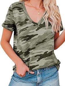 Damen V-Ausschnitt Top Kurzarm Casual T-Shirt Loose Sweatshirt,Farbe: Tarnarmee grün,Größe:XXL