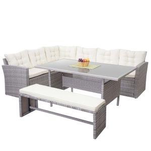 Poly-Rattan-Garnitur HWC-A29, Gartengarnitur Sitzgruppe Lounge-Esstisch-Set Sofa  hellgrau, Kissen creme + Bank