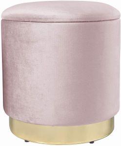 Theo&Cleo Eleganter runder Sitzpuff aus Samt,Mit Stauraum,Aus Samt und Metall,37x37x41.5cm (Pink)