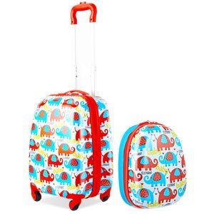 GOPLUS Kinderkoffer 2 TLG. mit Rucksack Kinder Reisekoffer Set Kinder Trolly Kinder Gepaeck Bunte Elefanten