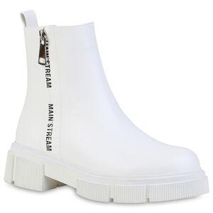 VAN HILL Damen Klassische Stiefeletten Prints Zipper Plateau Vorne Schuhe 837682, Farbe: Weiß, Größe: 39