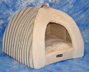 Hundehöhle / Katzenhöhle Bella - 45 x 40 cm - Beige - Plüschbezug - mit waschbarem Kissen
