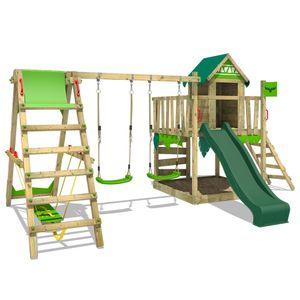 FATMOOSE Spielturm Klettergerüst JazzyJungle mit Schaukel SurfSwing & grüner Rutsche, Spielhaus mit Sandkasten, Leiter & Spiel-Zubehör