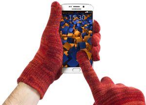 Touchscreen Handschuhe für kapazitive Displays Größe S rot-orange meliert