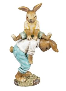 Hase Osterhase Hasen Paar Kind Kaninchen Deko Garten Figur Dekohase Skulptur