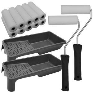 Nxtbuy Lackier Set Essential: 2x Farbroller Bügel 2 x Farbwanne 10x Schaumwalzen