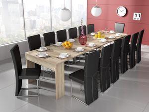 Ausziehbarer Esstisch, ausziehbar bis 301 cm, Eiche hell, Maße (unausgezogen): 90 x 49 x 75 cm Höhe.
