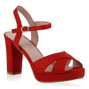 Giralin Damen Plateau Sandaletten Blockabsatz Elegante Plateau-Schuhe 836713, Farbe: Rot, Größe: 37