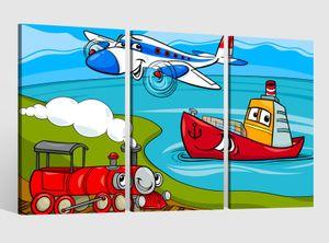 Leinwandbild 3 tlg Kinderzimmer Boys Flugzeug Kat2 Zug Boot Schiff Bild Leinwand Leinwandbilder Kinder Wandbild 9AB1491, 3 tlg BxH:120x80cm (3Stk  40x 80cm)