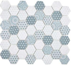 GLAS Mosaik Hexagon ECO blau Mosaikfliese Wand Fliesenspiegel Küche Bad