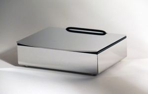 Feuchttücherbox mit Edelstahldeckel, Deckel leicht abgerundet