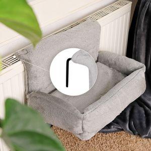 dibea Katzenbett für Heizungen Katzenheizungsliege Katzenhängematte für Heizungen Farbe grau