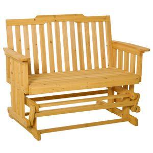 Outsunny 2-Sitzer Schaukelstuhl mit Armlehne Gartenstuhl Schwingsessel Massivholz Natur 124 x 76 x 95 cm