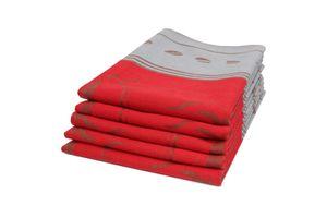 5er Set Geschirrtücher, Baumwolle, 50x70 cm, rot
