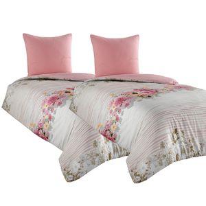 4 tlg Bettwäsche 135x200 Baumwolle Renforce weiß rosa Geblümt Bettbezug Garnitur