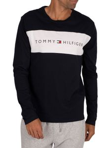 Tommy Hilfiger Herren Lounge Flag Langarm T-Shirt, Blau M