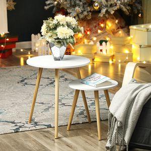 SONGMICS Couchtische 2er Set aus Holz runder Seitentisch Wohnzimmertisch skandinavische Natur weiß LET07WN