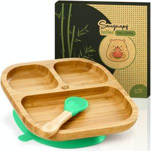 bambuswald© Kindergeschirr mit Saugnapf inkl. Babyteller Kindergeschirr-Set Frühstücksset Saugnapfplatte Fütterung