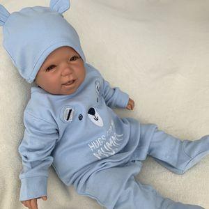 Baby Jungen Set 2-teilig Strampler + Mütze Gr. 6-9 Monate (68/74) Bär blau