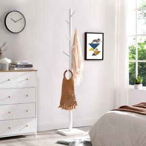 VASAGLE Garderobenständer mit 8 Haken, Kleiderständer aus Massivholz freistehend Baumform Haken und Haltestange aus Kautschukholz weiß RCR010W02