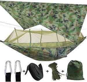 3 in1 Camping Hängematte mit Zipper Moskitonetz und Zeltplane,300kg Last (Tarnung Hängematte)