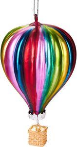 Brubaker Heißluftballon Bunt - Handbemalte Weihnachtskugel aus Glas - Mundgeblasener Christbaumschmuck Figuren lustig Deko Anhänger Baumkugel - ca. 11 cm
