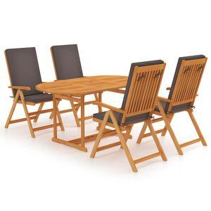 5-teiliges Outdoor-Essgarnitur Garten-Essgruppe Sitzgruppe Tisch + stuhl mit Grauen Kissen Massivholz Teak