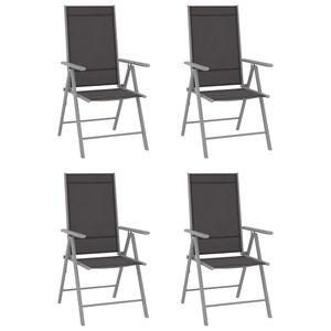 Gartenstühle Klappbar 4er Set Garden Chair Esszimmerstühle Sessel | Garten Stapelstuhl Hochlehner Textilene Schwarz - 2228