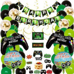 Videospiel-Partyzubehör, Happy Birthday Gaming Banner & 2-teiliges Spiel auf Controller-Aluminiumfolien-Luftballons Partydekorationen für Kinder-Jungen-Party