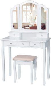SOLEDI Schminktisch mit 3 Spiegel und 5 Schubladen und einem Hocker, Schminktisch Dekos, Schminktisch mit Kippsicherung, Vanity Table 140 x 80 x 40 cm (Weiß)