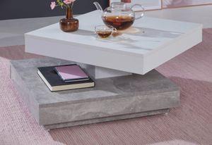 Couchtisch in weiß und grau Beton Design Tischplatte drehbar quadratisch Wohnzimmertisch 70 x 70 cm mit Ablage