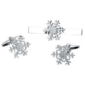 1 Paar Schneeflocke Form Manschettenknöpfe und 1 Krawattenklammer für Männer mit Geschenkbox