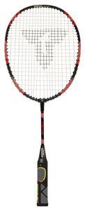 Talbot Torro Lern-Badmintonschläger ELI Mini, verkürzte Länge 53 cm, Lerngriff, Tropfenkopf, ideal für Schulsport und Training, schwarz-gelb-rot