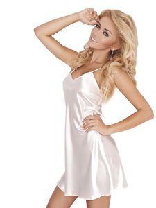 Schlichtes Damen Nachthemd in Beige - Aus edlem Satin - Oberschenkel lang mit verstellbaren Trägern - Größe L
