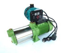 Kreiselpumpe 1100 Watt Edelstahl 5 Bar Druck 8700 L/H Gartenpumpe + vollautom. Druckregler mit Trockenlaufschutz