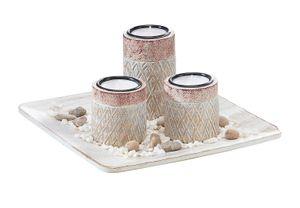 Blatt Dekoschale mit drei Kerzenhaltern und Dekosteinen Rautendesign