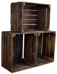 CHICCIE 3 Set Vintage Holzkisten Geflammt 50x40x30 - Obstkisten Weinkisten Apfelkisten Regale Deko Holz Kisten
