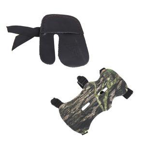 Tarnung Leder Bogenschießen 3 Riemen Armschutz & Schwarz Fingerschutzhandschuh
