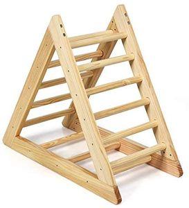 GOPLUS Kinder Kletterdreieck, Dreieck Klettergerüst aus Holz, Kletterdreieck Dreiseitig Verfügbar, Robuster Dreiecksständer für Kinder ab 3 Jahren, für Zuhause & Außenbereich, 92x46x80cm