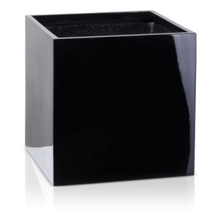 Pflanzkübel CUBO 50 Fiberglas Blumenkübel, 50x50x50 cm (L/B/H), schwarz hochglanz