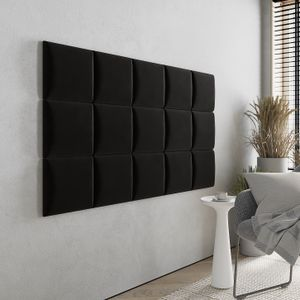 Wandkissen Stoff - Polster mit 50 mm Polsterung - Bett Kopfteil Wandpolster - Wanddeko - Wandpaneele | 30 x 30 (Schwarz RV100)
